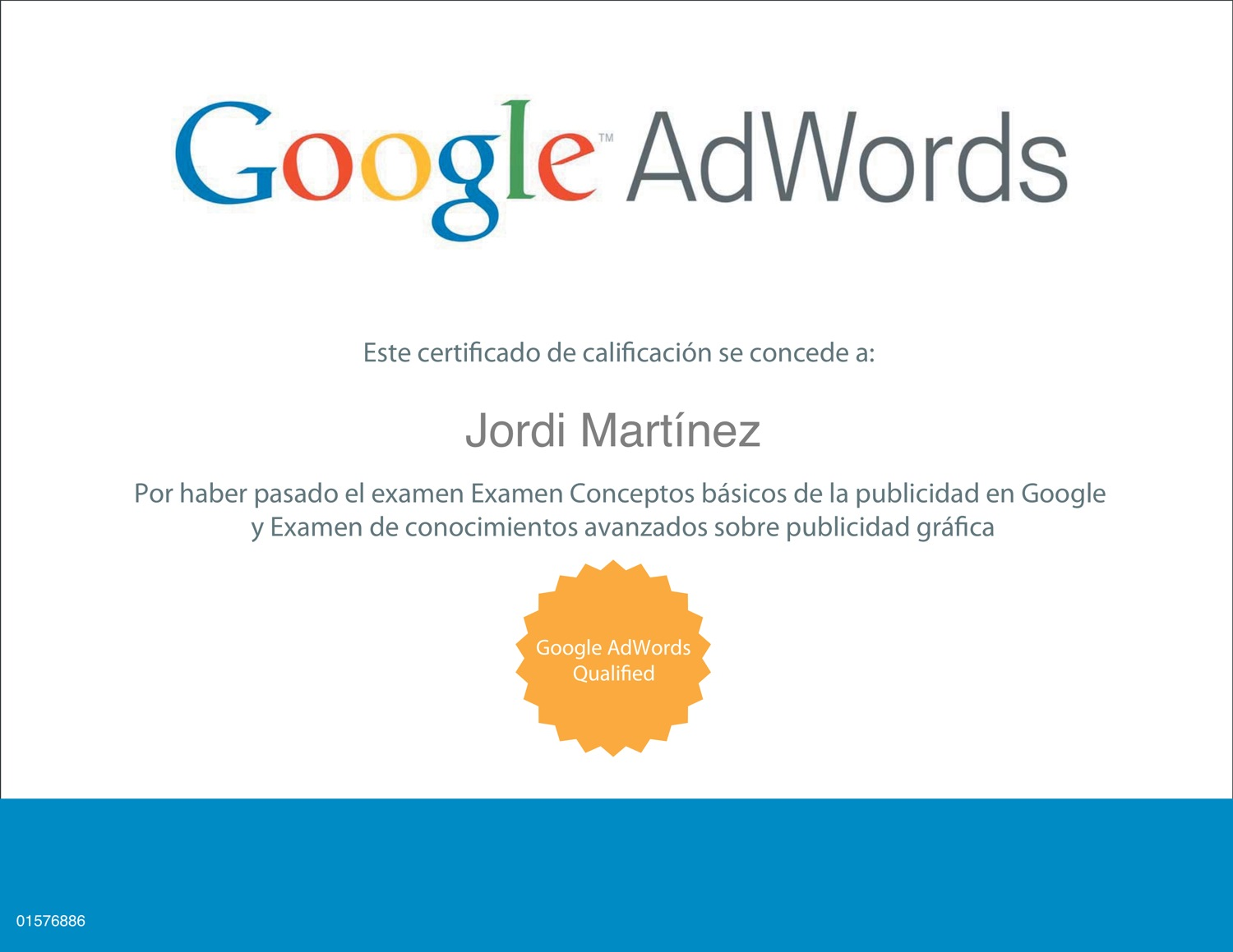 Certificado de Google Adwords